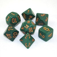 Chessex Opaque Polyhedral Dice Set - Dusty Green/Gold