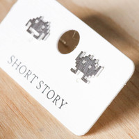 Short Story: Funky Play Earrings - Silver Space Invaders
