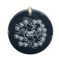 Manuka Leaf Ceramic Decoration (White on Blue)