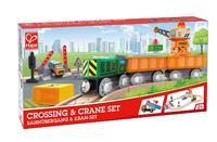 Hape: Crossing & Crane - Wooden Railway Set
