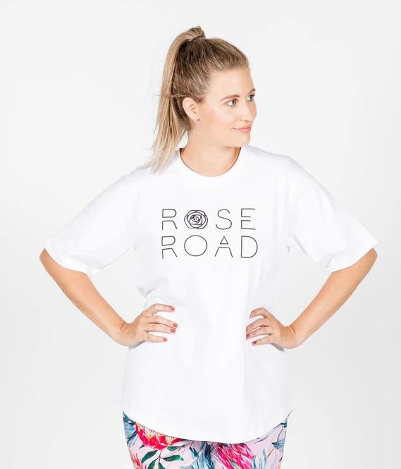 Rose Road: Tee - White With Logo - Medium