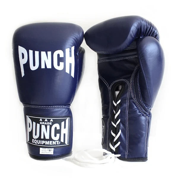 Punch Equipment Lace Up Trophy Competition 10oz Boxing Gloves - Blue