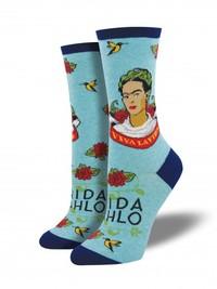 Women's Viva La Frida Crew Socks - Sky Blue Heather