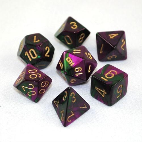 Chessex Gemini Polyhedral Dice Set - Green Purple/Gold