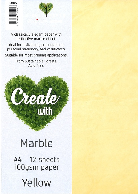 Marble Paper A4 100gsm - Yellow (12 Pack)