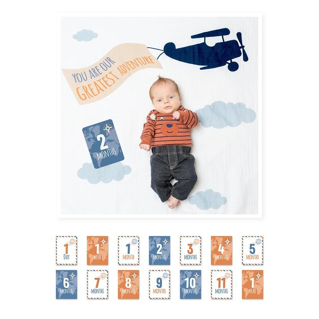 Lulujo's Baby First Year Milestone Blanket & Cards Set - Greatest Adventure