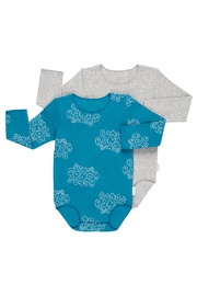 Bonds Ribbies Bodysuit 2 Pack - Bubble Tango Teal / Grey Marle (12-18 Months)