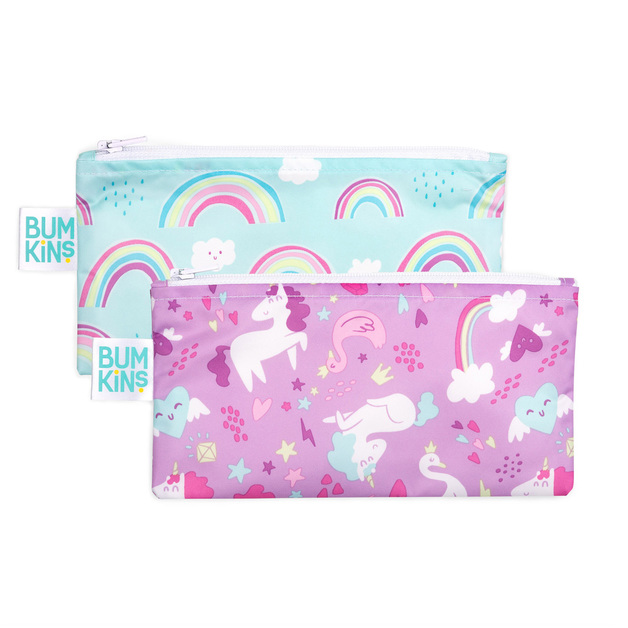 Bumkins: Small Snack Bag - Unicorn/Rainbow (2pk)