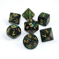 Chessex Signature Polyhedral Dice Set Scarab Jade/Gold