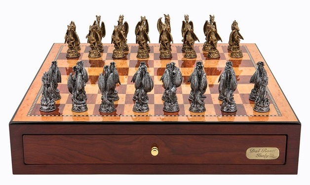 "Dal Rossi: Mystical Dragons - 18"" Pewter Chess Set (Red Mahogany)"