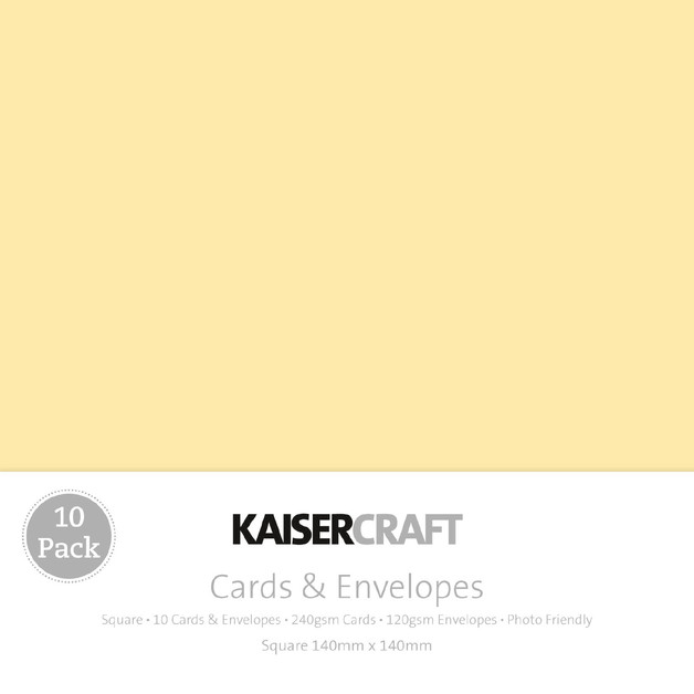 Kaisercraft: Square Card and Envelope 10 Pack - Cream