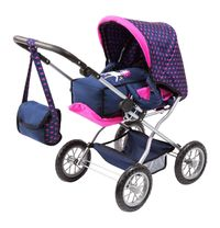 Bayer: Combi Grande Dolls Pram - Navy Unicorn