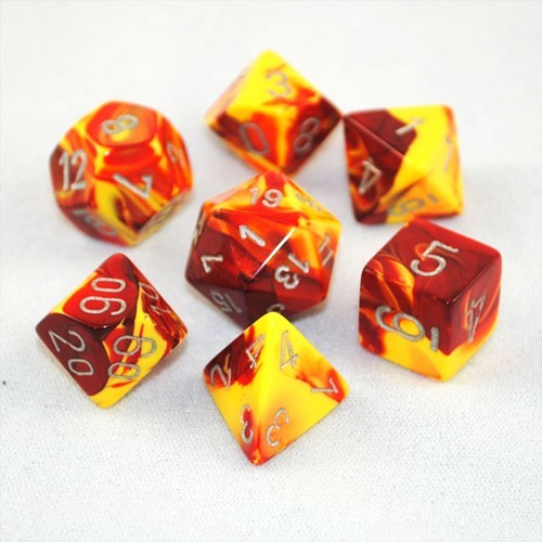Chessex Gemini Polyhedral Dice Set - Red Yellow/Silver