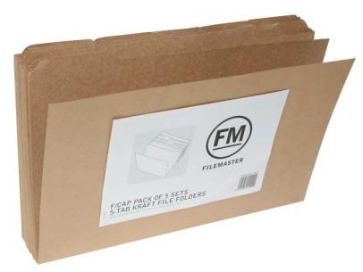 FM Foolscap 5-Tab File Folder - Pack 25 (Kraft)