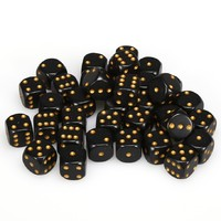 Chessex: D6 Opaque Cube Set (12mm) - Black/Gold