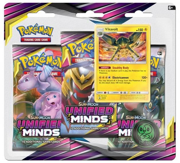Pokemon TCG: Unified Minds Three Booster Blister - Vikavolt