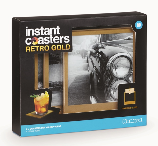 Instant Coasters: Tempered Glass Coaster Set - Retro Gold