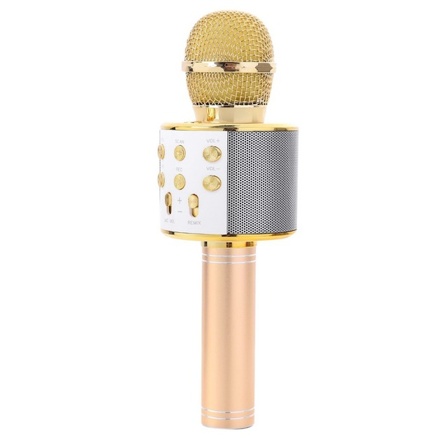 Karaoke Microphone with Bluetooth Speaker - Gold