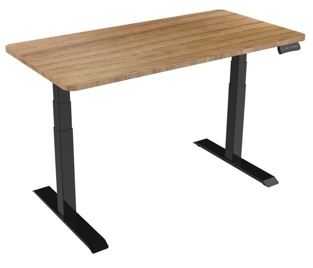 Gorilla Office: 3-Stage Motorised Height Adjustable Desk - Black/Oak (1800 x 800mm)