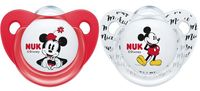 NUK: Mickey Silicone Soothers - 6-18 Months - Red & White (2 Pack)