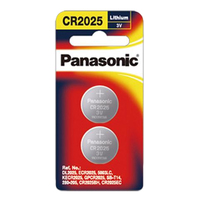 Panasonic Lithium 3V Coin Cell Battery CR2025 - 2 Pack