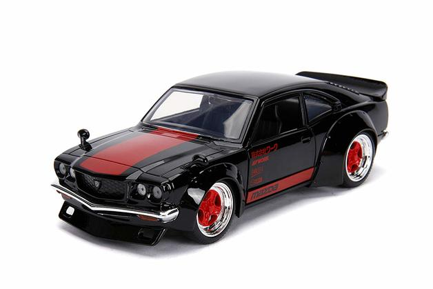 Jada 1/24 JDM- Mazda Rx3 Black With Red Stripes - Diecast Model