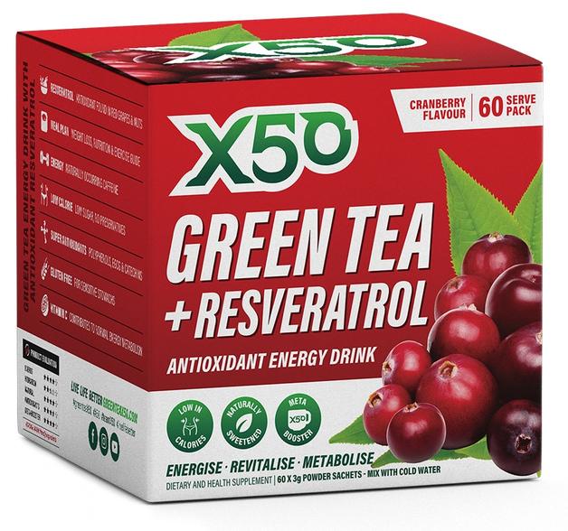 Green Tea X50 + Resveratrol - Cranberry (60 Sachets )