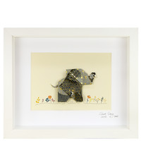 Short Story: Small White Frame - Happy Elephant (Grey)
