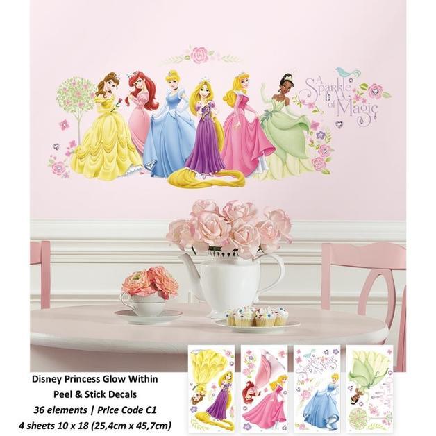 Room Mates: Disney Princess Glow Princess Peel & Stick Wall Decals - 4 Sheets
