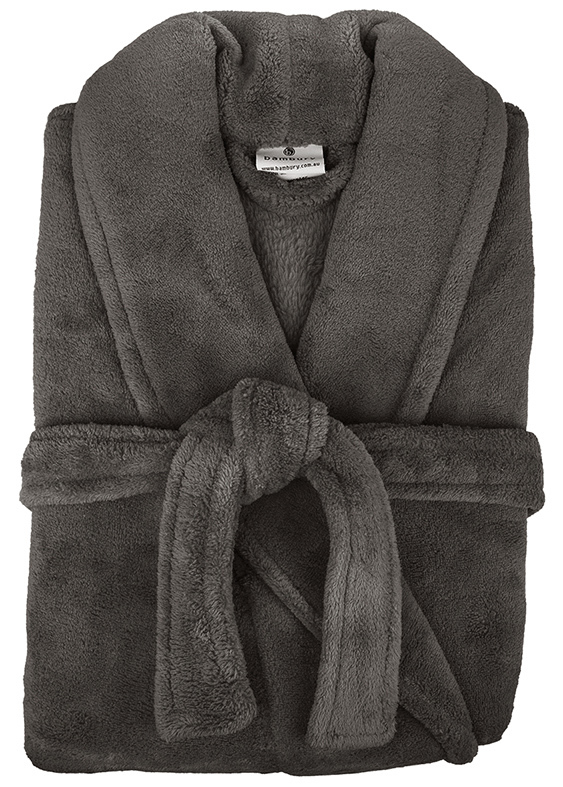 Bambury: Retreat Microplush Robe - Pewter M/L