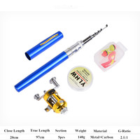 Ape Basics Portable Pocket Mini Pen Telescopic Fishing Rod & Reel Combo set - Blue