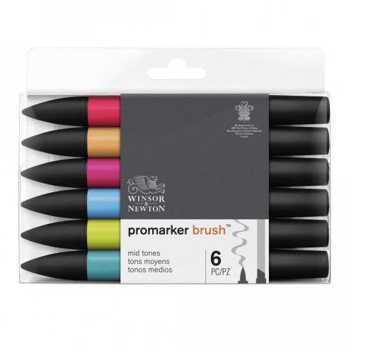 Winsor & Newton Promarker Brush (6 Mid Tones Set)