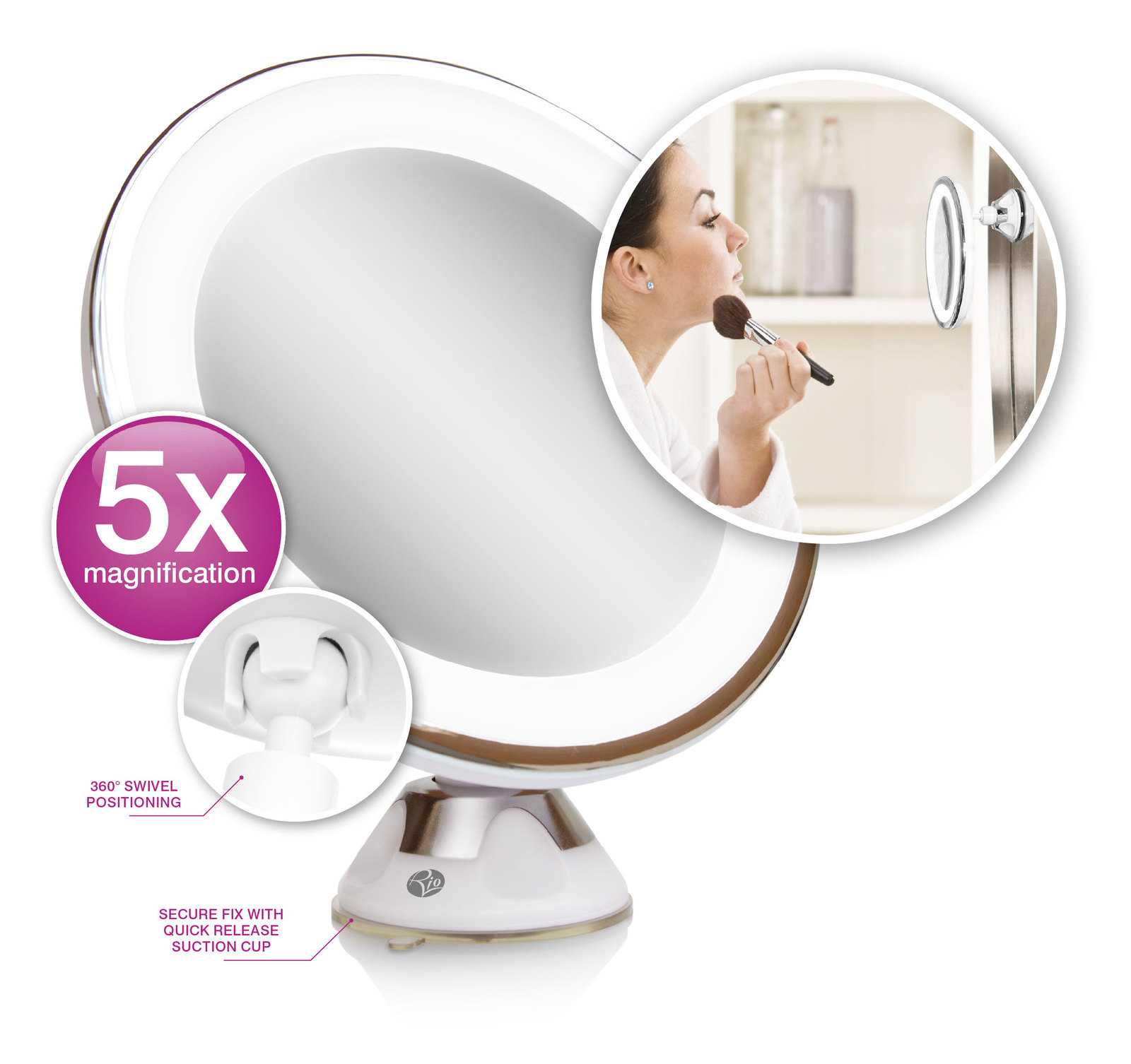 Multi Use LED Illuminated Makeup Mirror image