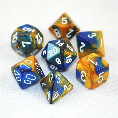 Chessex Gemini Polyhedral Dice Set Blue-Gold/White
