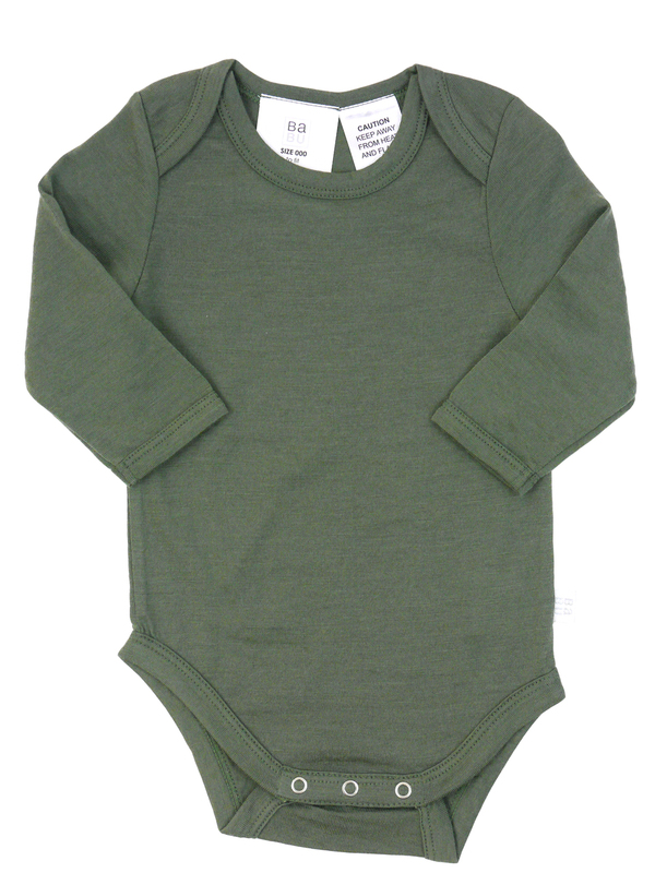 Babu: Merino Long Sleeve Body Suit - Khaki (0-3m)