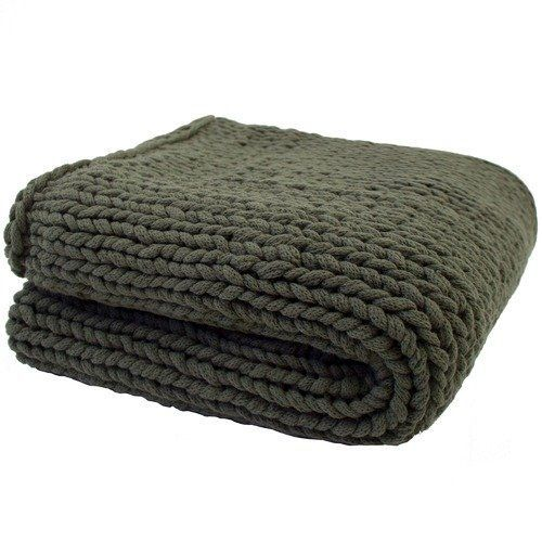 Bambury Chunky Knit Throw (Olive)