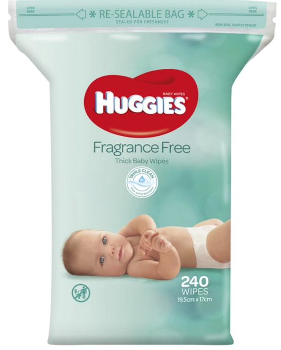 Huggies: Thick Baby Wipes - Fragrance Free (240 Pack)