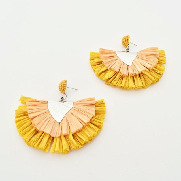 Adorne: Raffia Layered Fringe Earrings - Mustard