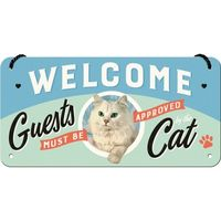 Nostalgic Art: Hanging Sign - Welcome Guest Cat