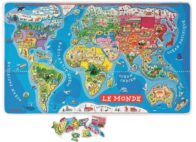 Janod magnetic world map toy at mighty ape australia janod magnetic world map gumiabroncs Gallery