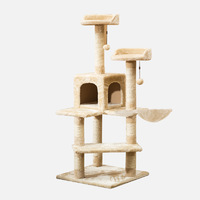 Gorilla: Cat Tree City Cat Tree City (5 Levels) 1.3M With Snuggle House - Beige / White