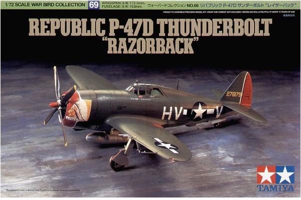 "Tamiya U.S. P-47D Thunderbolt ""Razor Back"" 1/72 Aircraft Model Kit"