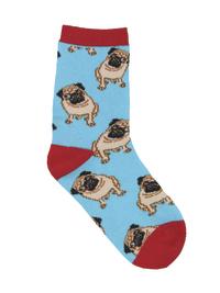 Kid's (7-10 Years) Pug Crew Socks - Blue