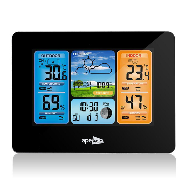 Ape Basics Wireless Sensor LCD Display Weather Station - Black
