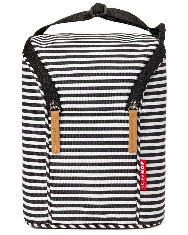 Skip Hop: Grab&Go - Double Bottle Bag (Black/White Stripe)