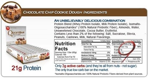 Quest Nutrition Protein Bars - Chocolate Chip Cookie Dough (Box of 12) image
