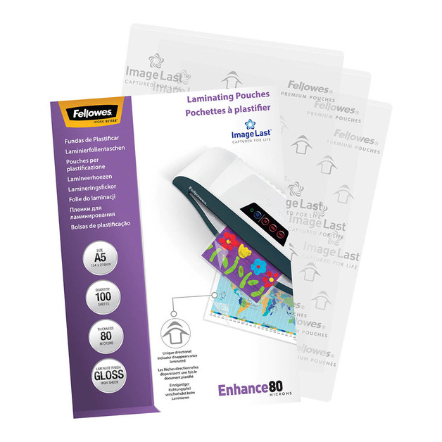 Fellowes: Laminating Pouches - A5/80 Micron/100 Pack