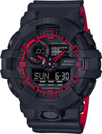 Casio G-Shock Dual Tone Black/Red Watch GA700SE-1A4 GA-700SE-1A4DR