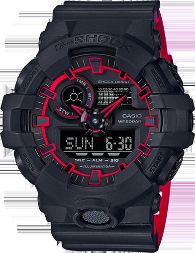 Casio G-Shock Dual Tone Black/Red Watch GA700SE-1A4 GA-700SE-1A4DR