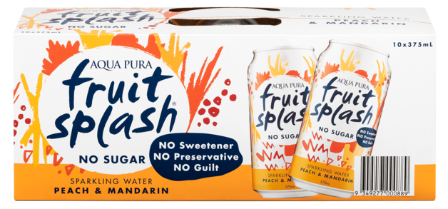 Aqua Pura Fruit Splash Peach & Mandarin 375ml (10 Pack)